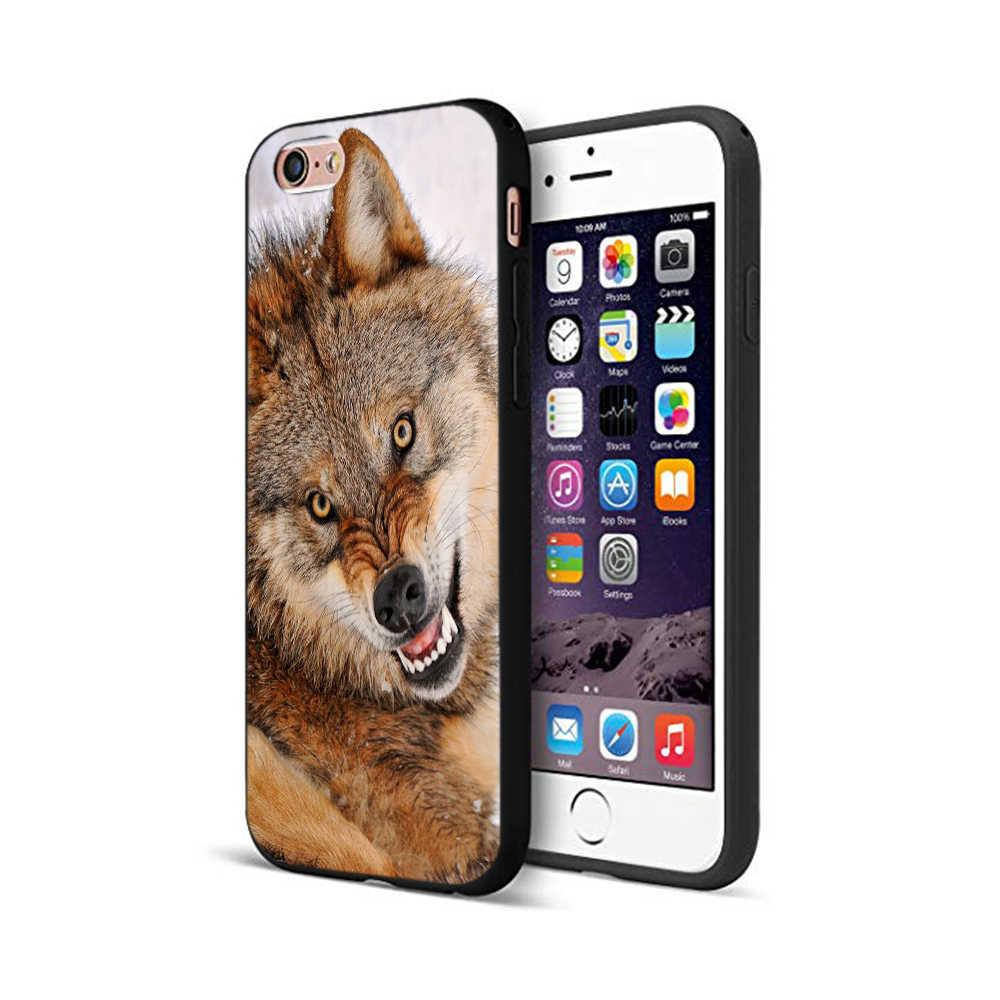 Czarna obudowa tpu dla iphone 5 5s se 6 6s 7 8 plus x 10 skrzynki pokrywa silikonowa dla iphone XR XS 11 pro MAX przypadku wilk zwierząt