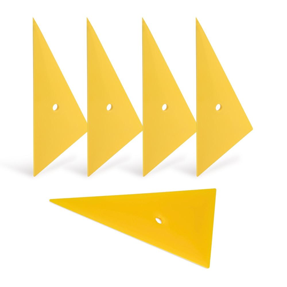 EHDIS 5Pcs Triangle Vinyl Film Wrapping Scraper Auto Window Tint Tool Yellow Go Corner Carbon Fiber Vinyl Car Wrap Squeegee 5A68