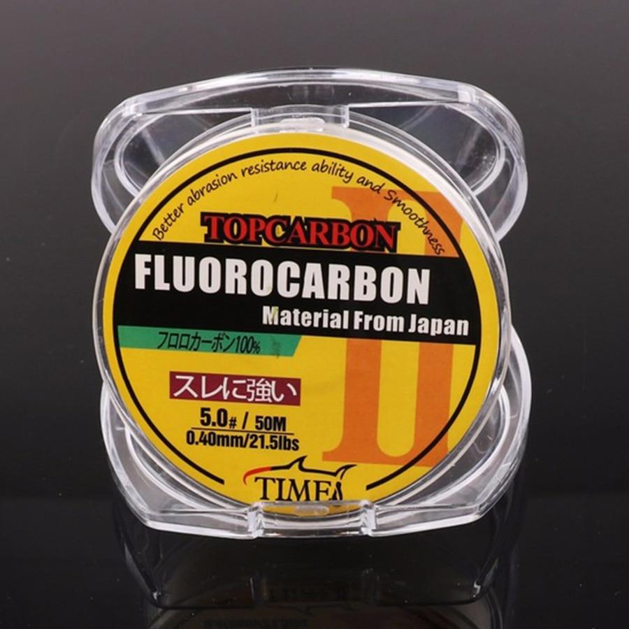 50 м 4.4-35.2LB Лінії фторуглеродного рибальства Висока якість вуглецевого волокна Fly Риболовля Лінія чіткий прозорий колір мононитки