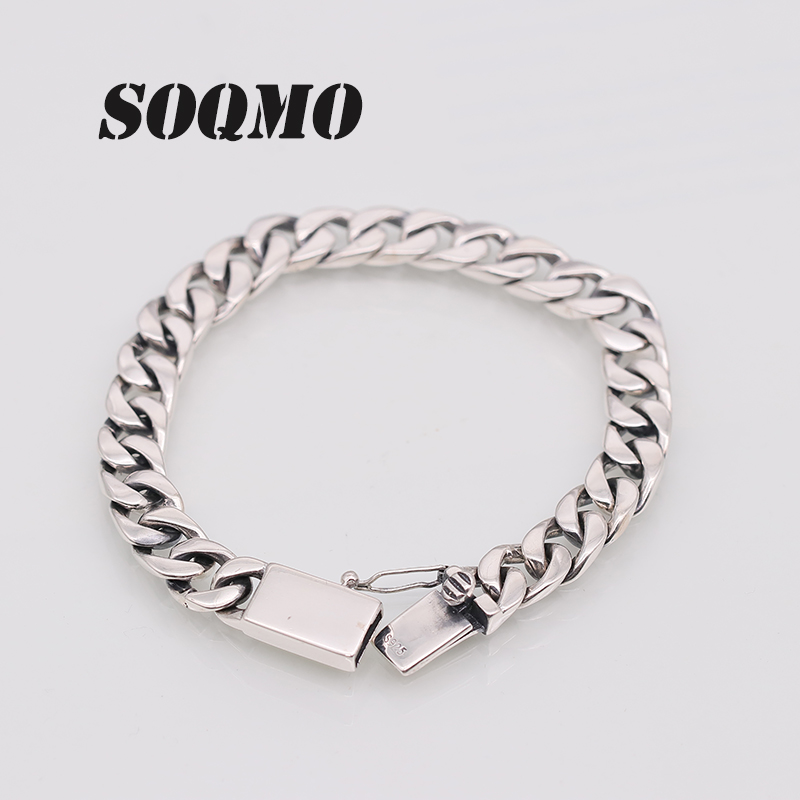 SOQMO Solid 925 Sterling Silver Bracelets Man High Polish Link Chain Bracelet For Men Vintage Punk Jewelry For Male SQM199 a suit of vintage solid color link chain necklace and bracelet for men