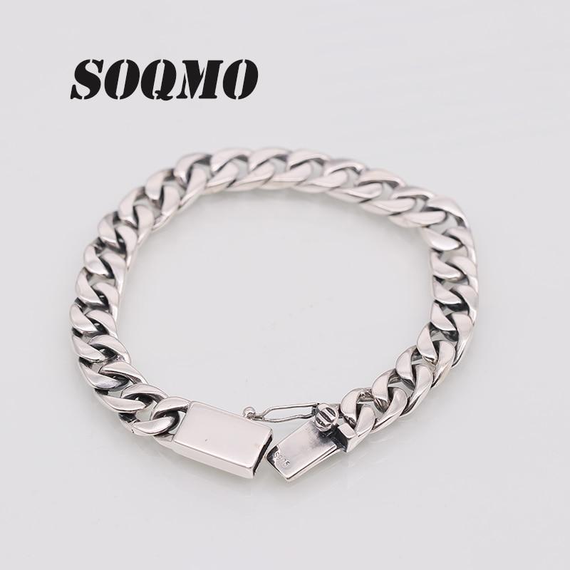 SOQMO Solid 925 Sterling Silver Bracelets Man High Polish Link Chain Bracelet For Men Vintage Punk Jewelry For Male SQM199 vintage solid color link chain bracelet for women