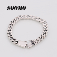 SOQMO Solid 925 Sterling Silver Bracelets Man High Polish Link Chain Bracelet For Men Vintage Punk Jewelry For Male SQM199