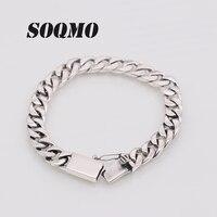 SOQMO Solid 925 Sterling Silver Bracelets Man High Polish Link Chain Bracelet For Men Vintage Punk Jewelry For Male SQM199
