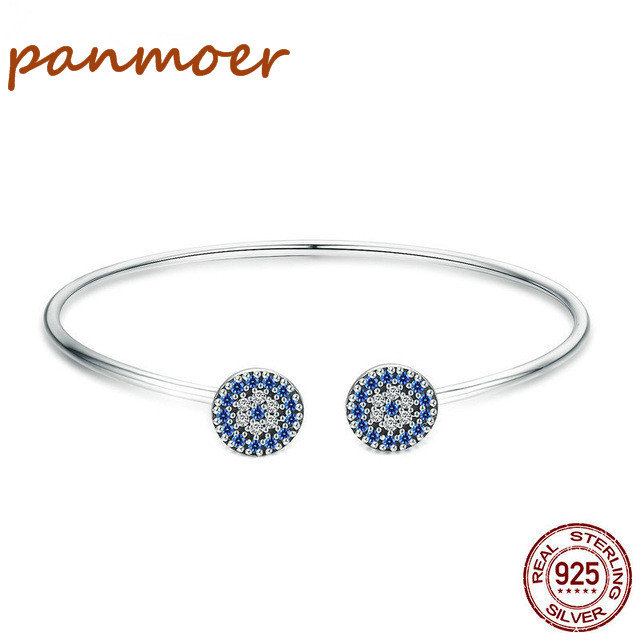 2018 100% 925 Silver Lucky Blue Eyes Blue CZ Women Open Cuff Bangle & Bracelet fit pandor charms fashion Luxury fine Jewelry