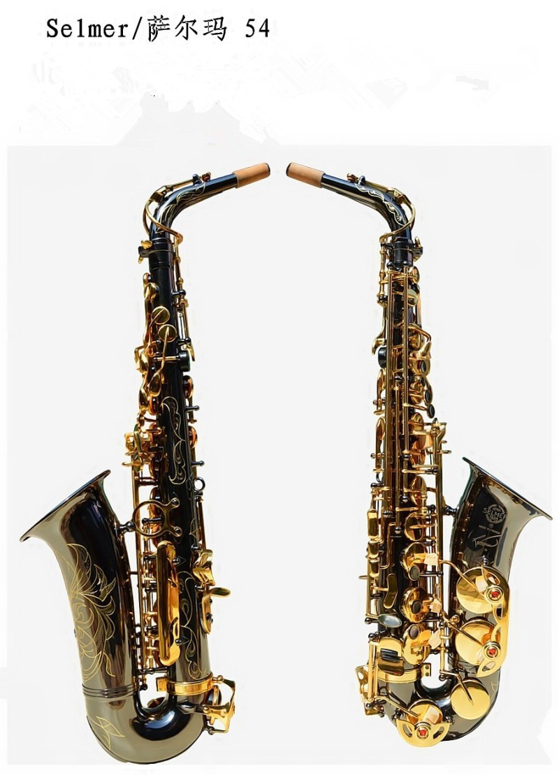 E alto saxophone Musical instruments Wholesale Henri selmer black Gold key 54 sax  instruments Reference professional alto saxophone selmer 54 brass silver gold key e flat musical instruments saxophone with cleaning brush cloth gloves cork strap