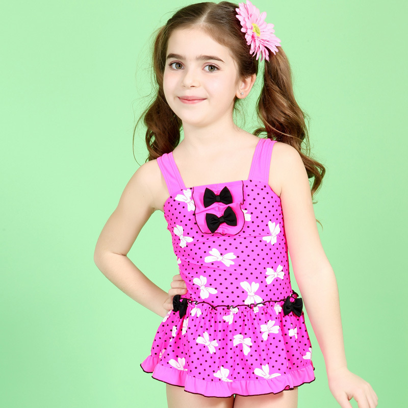 Cute Baby Girl Swimsuits Pink With Bow Kids Models One -4217
