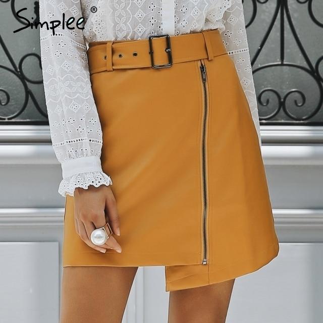 Simplee Sexy taille haute en cuir PU jupe Streetwear sash mini jupes courtes femmes fond 2018 Zipper A-ligne automne hiver jupe