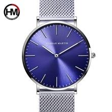 Для мужчин Нержавеющаясталь Сетка Японии кварц двигаться Для мужчин t Водонепроницаемый синий циферблат наручные часы модные простые Стильные Топ люксовый бренд Часы