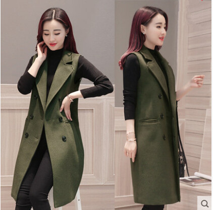 Sleeveless Blazer Vest 2017 Spring Autumn Army Green Loose Woolen Vest Long Waistcoat Women Outwear пистолет для герметика kapriol 25246