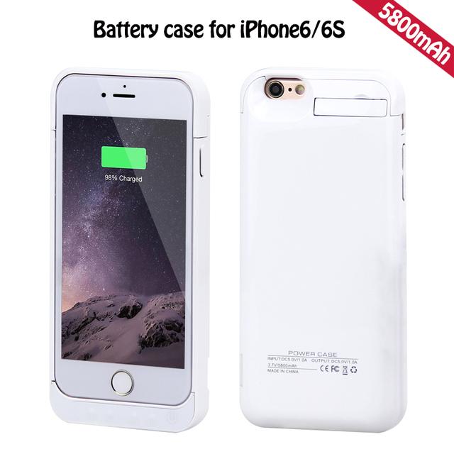 Potente! 5800 mah caso de la energía para iphone 6 cubierta del caso del cargador para el iphone 6 cubierta de la caja caja de batería para iphone 6 s poder bnak 4.7''