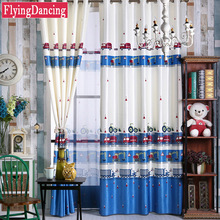 kids blackout curtains boys living room blue green car cartoon curtains sheer child tulle baby customize