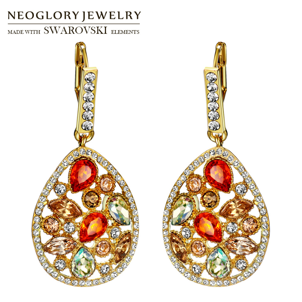 Neoglory MADE WITH SWAROVSKI ELEMENTS Rhinestone Drop Earrings Classic Colorful Water Drop Design Luxuriant Party Lady Holiday