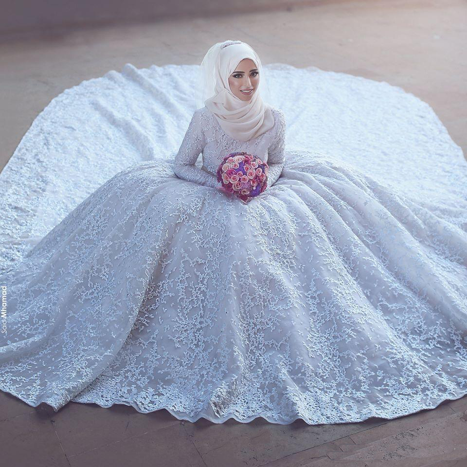 Muslim Wedding Gown Pictures: Vestido De Noiva Ball Gown Long Sleeve High Neck White