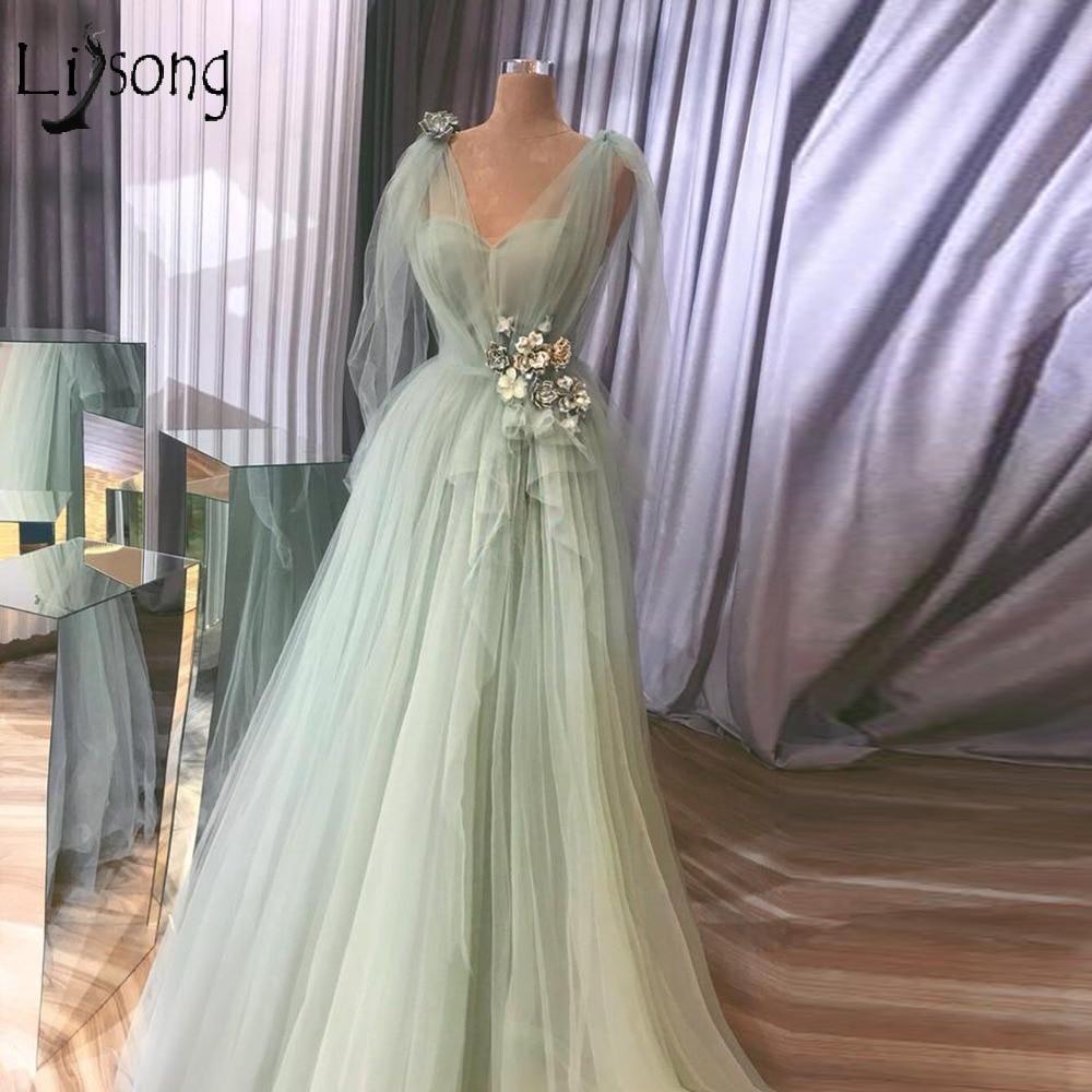 Pretty Mint Green 3D Flower Prom Dresses V neck Ruffles A line Prom Gowns V neck