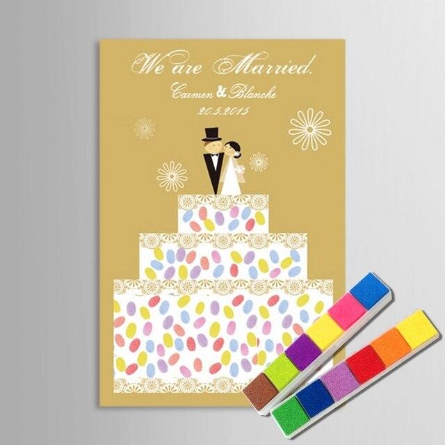 Fingerprint Signature Painting Wedding Cake Canvas Painting DIY Gift ...