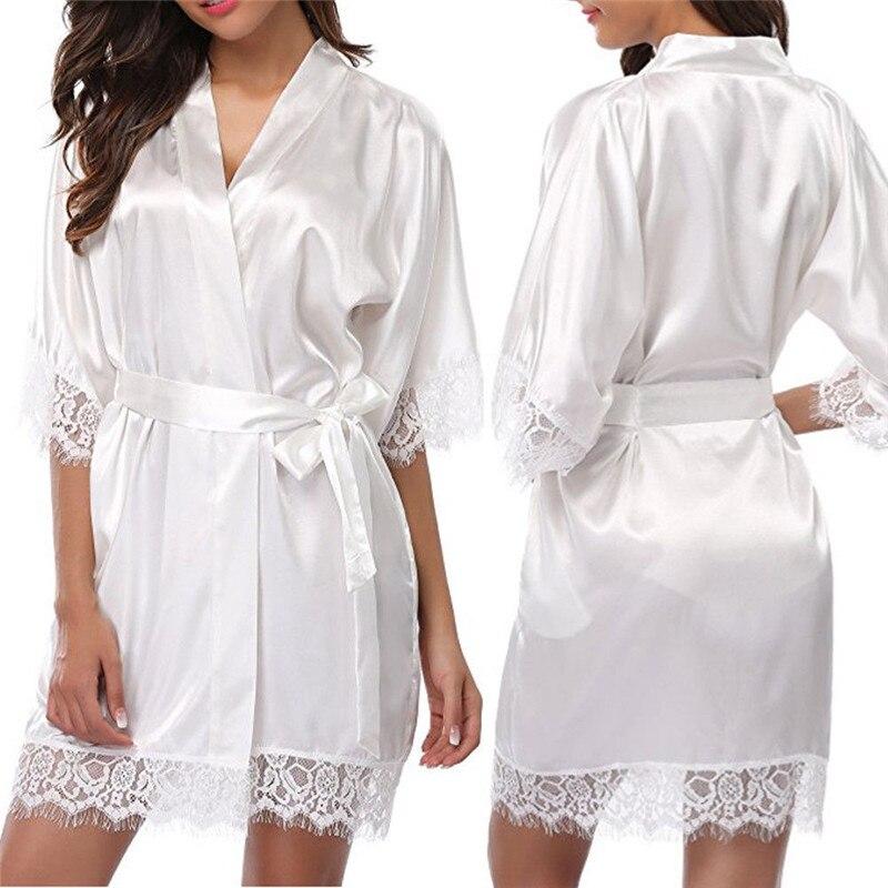 Half Sleeve Women Faux Silk Sashes Robe Nightdress Female Lace V-Neck Short Kimono Nightgown Loose Belt Bathrobe Nightwear