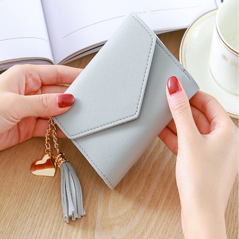 Short Wallet Women Fashion Tassel Purse Female Mini Wallets Korean Students Lovely Purse Female Small Wallet Porte Monnaie Femme in Coin Purses from Luggage Bags