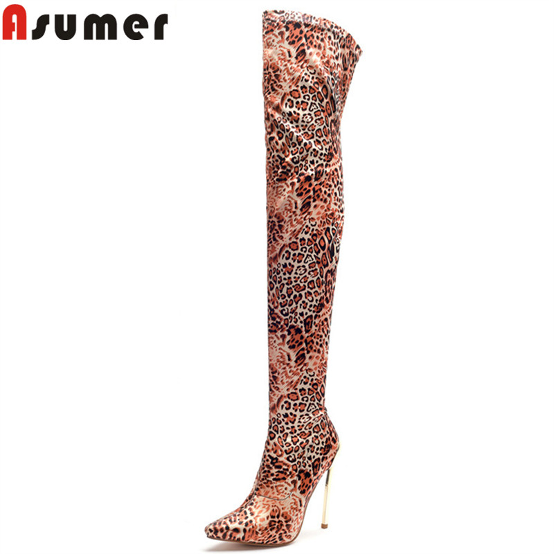 ASUMER big size fashion thigh high boots pointed toe ladies autumn winter boots elegant thin high heels prom over the knee bootsASUMER big size fashion thigh high boots pointed toe ladies autumn winter boots elegant thin high heels prom over the knee boots