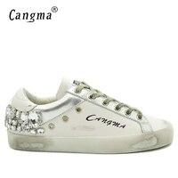 CANGMA Mens Fashion Silver Diamond Shoes Luxury Brand Vintage Genuine Leather White Handmade Crystal Flats Male