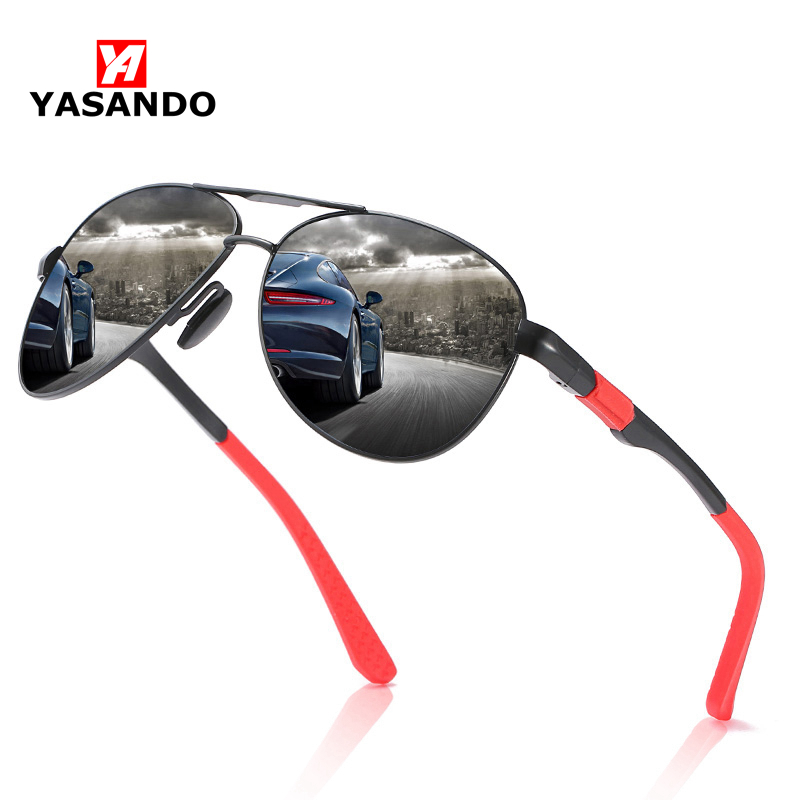 Pilot Style Sunglasses Men YASANDO Aluminum Magnesium Polarized Shades Mirror Lens Outdoor Driving UV400 Male Eyewear XY164