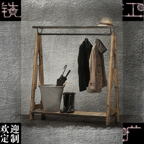 Solid Wood Frame Home In Retro Clothing Iron Floor Glove Hanging Rack Hanging  Clothes And