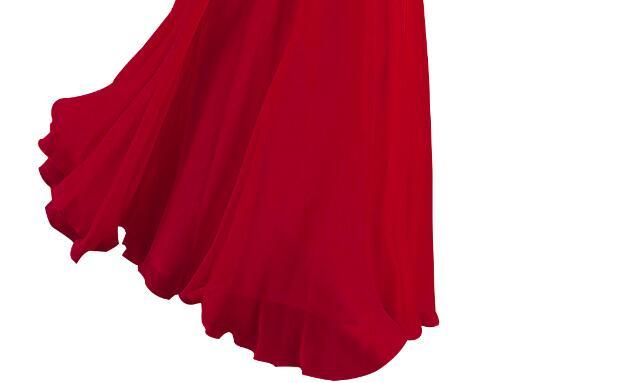 [Распродажа] шифоновое вечернее платье Длинное Элегантное длинное вечернее платье с блестками и бисером на шнуровке сзади милое - Цвет: Red