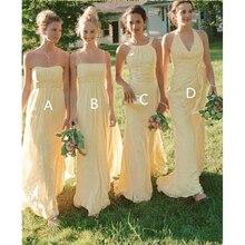 Cahaya Sederhana Kuning Bridesmaid Gaun Panjang dengan Harga Murah Negara  Desainer Sifon Lipit Beaded Payet Gaun a2f6ead8329f