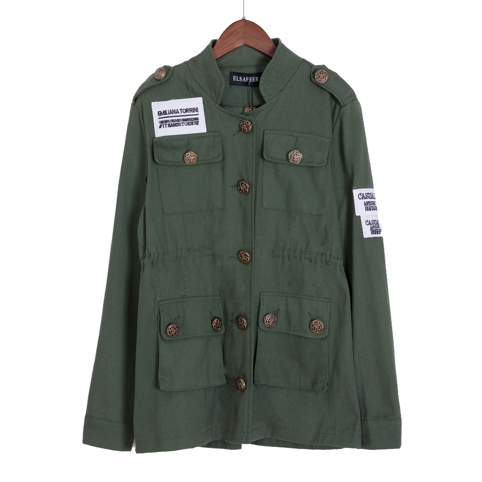 Add 4 colors! military jacket women (no plaid blouse) spring autumn army green embroidery adjust waist coat chaqueta mujer C5302