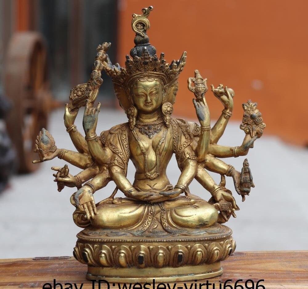 Chine vieux Bronze cuivre bouddhisme Gild usnisa-sitatapatra Ushnisha Vijaya bouddhaChine vieux Bronze cuivre bouddhisme Gild usnisa-sitatapatra Ushnisha Vijaya bouddha