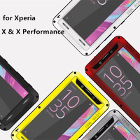 Love Mei Waterproof Shockproof Tempered Glass Cover Straight Metal Aluminum Case For Sony Xperia X & X Performance & X Compact
