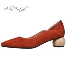 f829c4dda أردن Furtado الصيف 2019 الأزياء أحذية نسائية المشمش الطوب الأحمر وأشار اصبع  القدم ناضجة خاص على