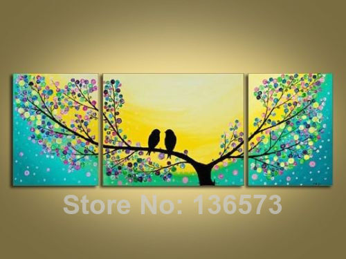 Hand Painted Beautiful Scenery Love Birds on Tree Canvas Paintings 3 ...