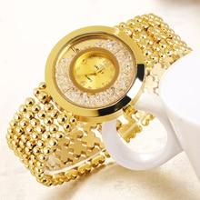 купить Women Watches Quartz Clock mujer gift Luxury Crystal Rose Gold Rhinestone Bracelet Watches Ladies Fashion Dress Watch по цене 395.13 рублей