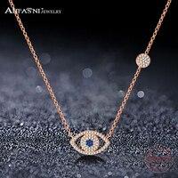 ANFASNI Hot Sale 925 Sterling Silver Tiny CZ Pave Eyes Elegant Necklace For Women Luxury S925
