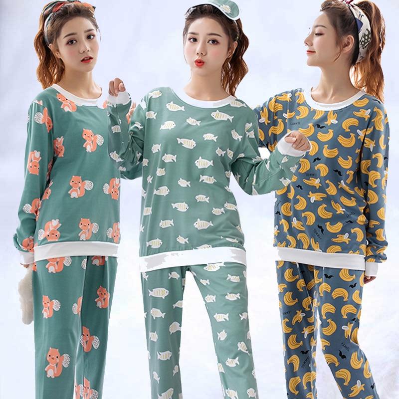 Factory wholesale spring autumn women   Pajamas     Set   long Sleeve Nightgown Cartoon printed Cute Sleepwear suit Girl Pijamas Mujer