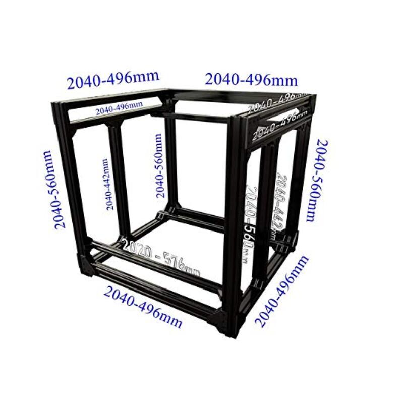 Black-Silve BLV mgn Cube 3D Printer Aluminum Extrusion Frame Kit w-Nuts Screw Angle Brackets F-CR10