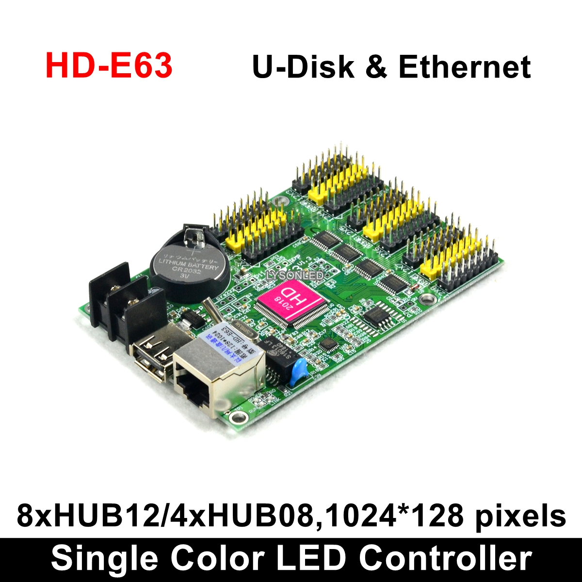 HD-E63 Ethernet Communication Ports Huidu P10 Dual Color LED Display Card, Led Programmable Sign Display Board ControllerHD-E63 Ethernet Communication Ports Huidu P10 Dual Color LED Display Card, Led Programmable Sign Display Board Controller