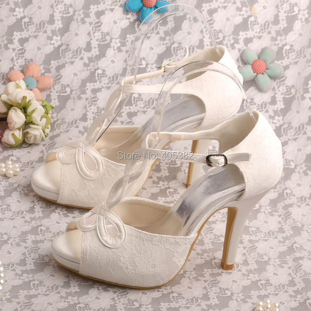 Wedopus Dropshipping Platform Lace Sandals for Women Ivory Wedding Shoes T-strap  Peep Toe 1386fa9b431b