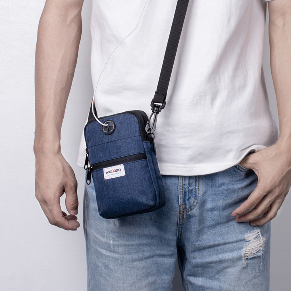 Fashion 2019 Casual Summer Men Diagonal Mini Shoulder Multi-Function Mobile Phone Bag Outdoor Sports Messenger Shoulder Tote Bag