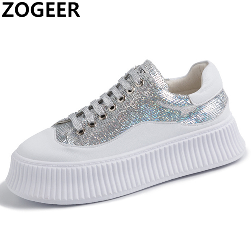2019 Summer Women Dad Chunky Shoes Sneakers Platform Girls Genuine Leather Casual Shoes Woman Fashion Bling