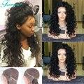 Мода Вьющиеся Glueless Полные Парики Шнурка С Волосами Младенца 150% плотность Виргинский Бразильский Фронта Шнурка Человеческих Волос Парики Для Черного женщины