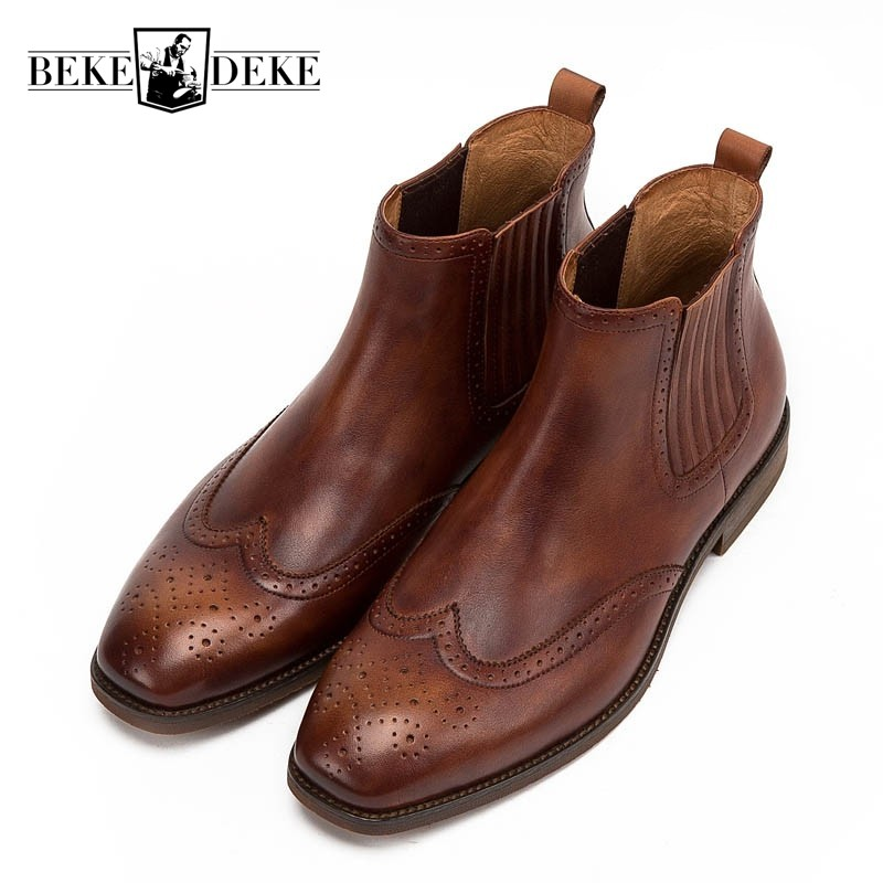 Italy Vintage Mens Chelsea Boots Breathable Cow Real Leather Slip On Business Work Safety Shoes Retro Brogue Wing Tip Footwear top quality england style retro mens cow genuine leather brogue shoes male casual shoes lace up round toe breathable wing tip