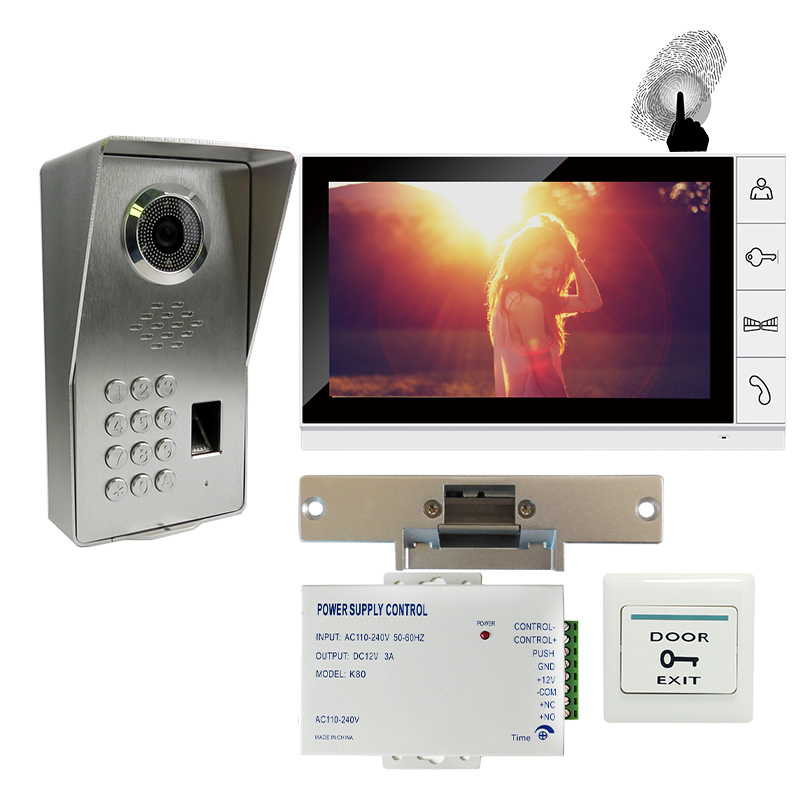 FREE SHIPPING Fingerprint Code Keypad 9 Monitor Video Door Phone Intercom System + Waterproof Outdoor Camera + Strike Door Lock grenseure free shipping 9 lcd monitor video intercom door phone system rfid code keypad outdoor camera electromagnetic lock