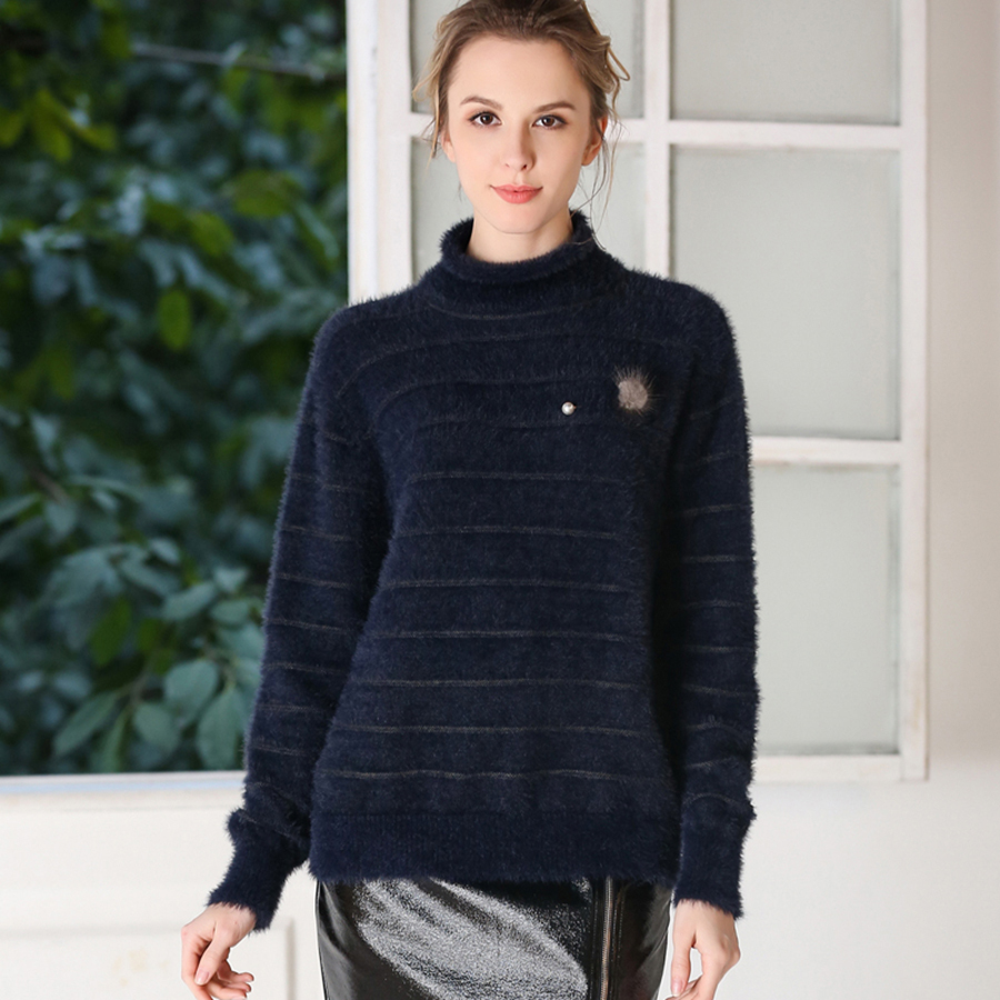 878c39a7c Striped Cashmere Knitted Sweater Turtleneck Winter Tops High Neck ...