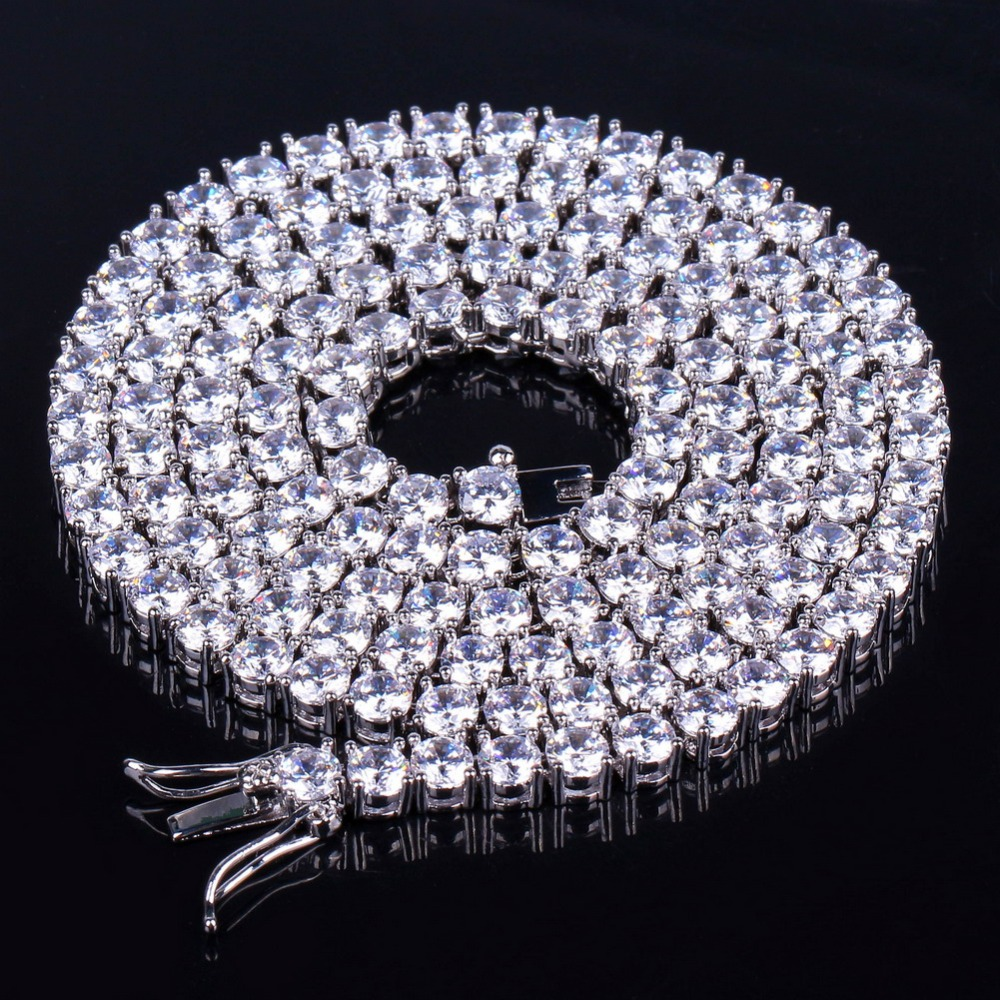 3MM  Iced Out Bling AAA Zircon 1 Row Tennis Chain Necklace Men Hip hop Jewelry dropshipping