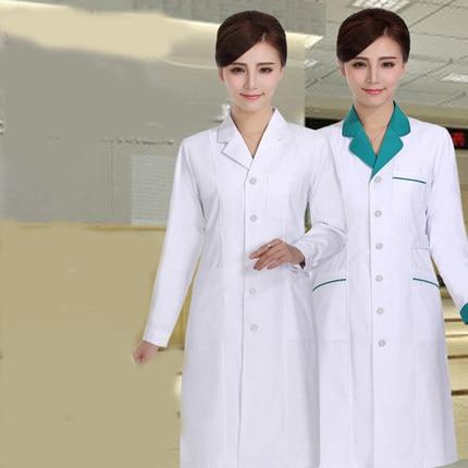 a8e06d76b4015 Женские или мужские белый Спецодежда медицинская пальто Костюмы Спецодежда медицинская  услуги равномерное медсестра Костюмы с длинными