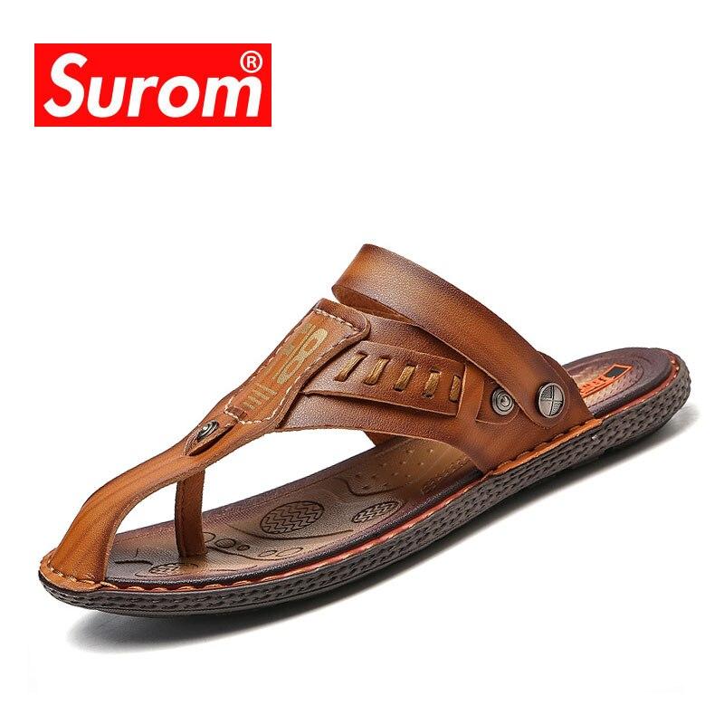 SUROM Summer Beach Breathable Men Sandals Comfortable Men Summer Slippers Casual Home Slippers Men Shoes Flip-Flops Zapatos