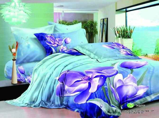 3d Blue Purple Flower Bedding Set Turquoise Floral Double
