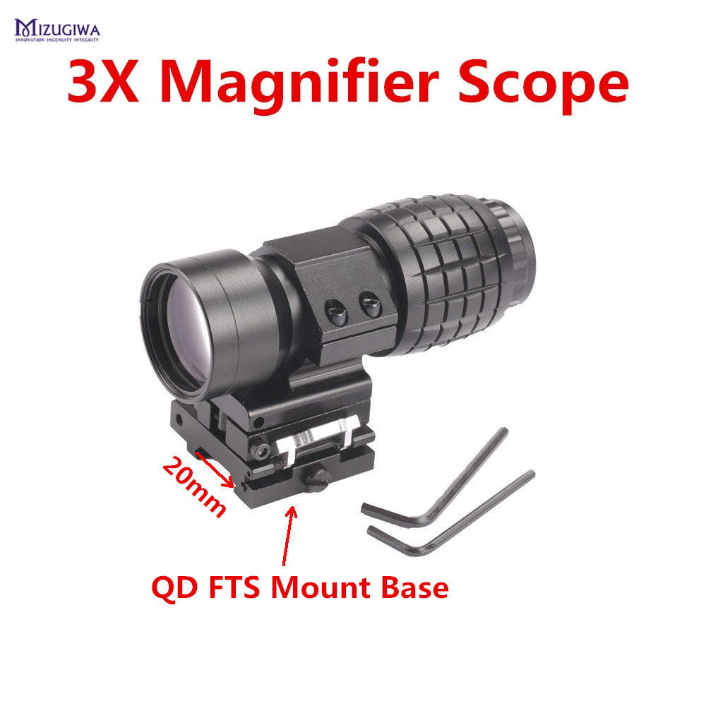 MIZUGIWA 3X Magnifier Quick Release Sight Scope W/Picatinny 20mm Rail Flip Flip-up Mount to Side Mount for Sniper Rifle Airsoft free shipping 20mm rail tactical 4x magnifier quick flip scope w flip to side mount fit for holographic sight