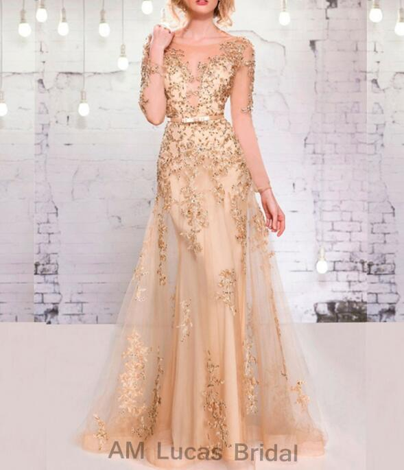 New Vintage Long   Evening     Dresses   With Long Sleeves Sexy Formal Gowns For Wedding Party Communion Plus Size Zipper Back S480